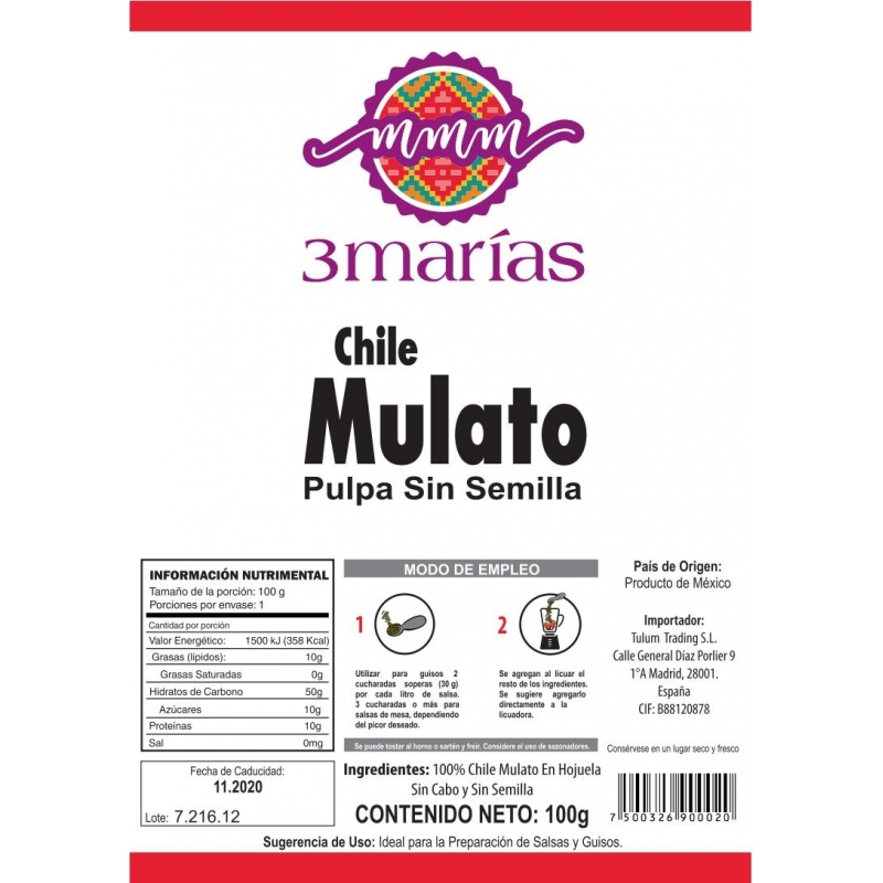 Chile Mulato Molida 100 g - Tres Marias