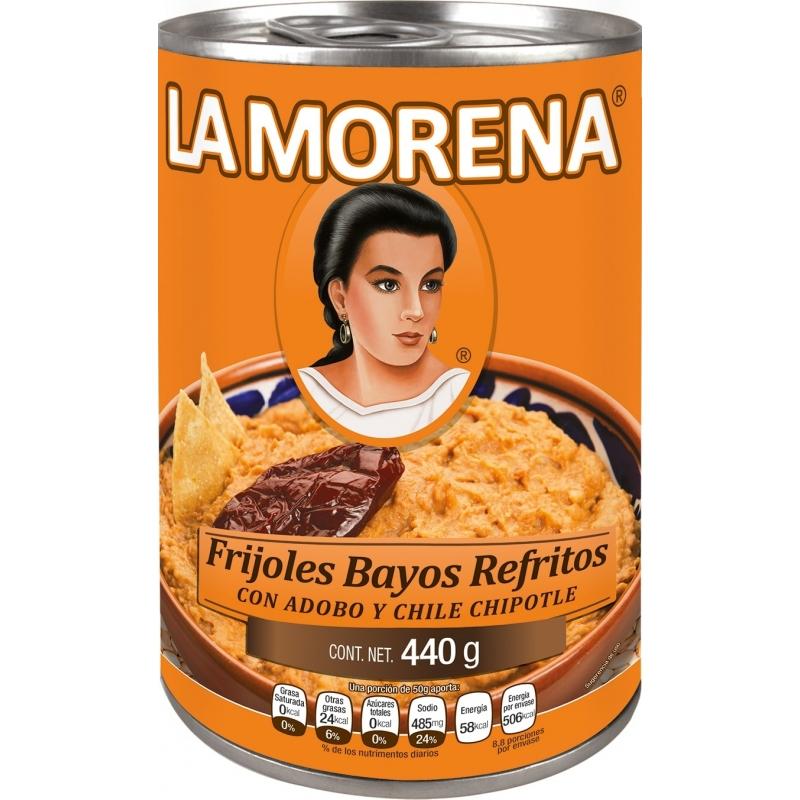 Frijoles bayos refritos con chipotle La Morena