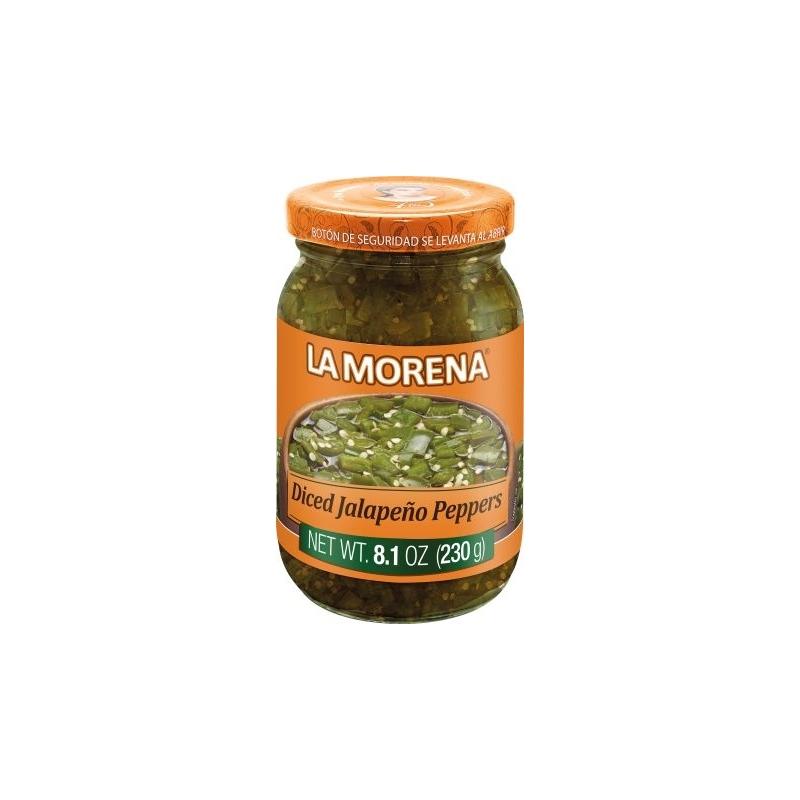 Chiles jalapeños en cubos en frasco de cristal La Morena